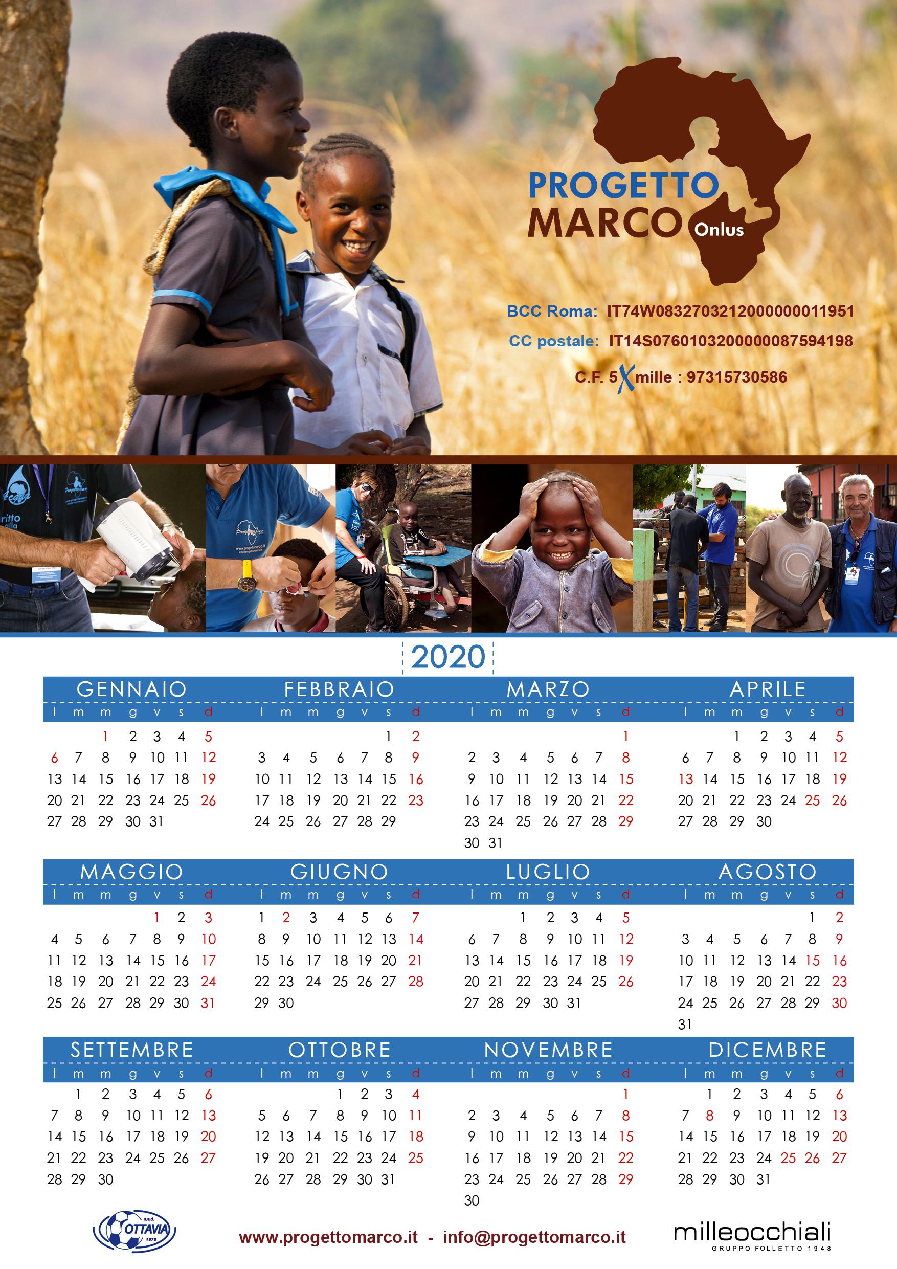 Calendario Progetto Marco 2019